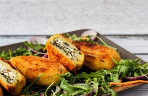 Krokiety ziemniaczane z serem i szpinakiem