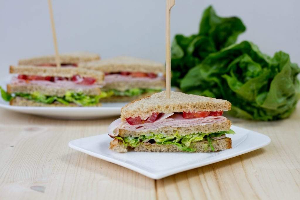 Club sandwich  with meat and salad