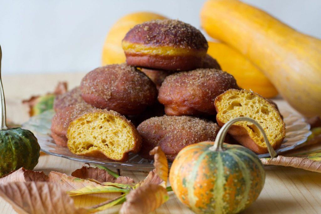 Donuts made from pumpkin dough