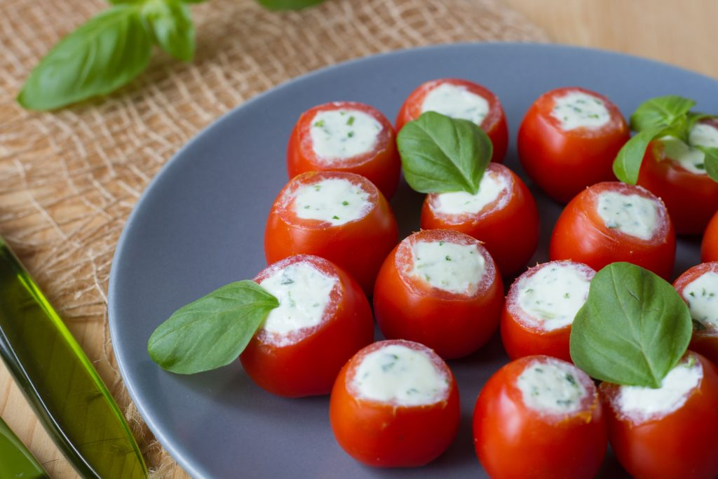 Tomatoes stuffed with feta cheese